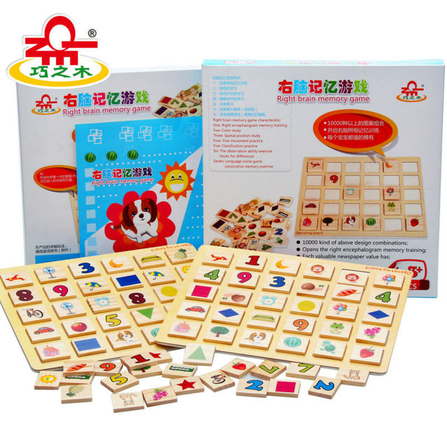 Free shipping Right brain memory game/wooden jigsaw puzzle, children's educational 80PCS domino toys Kids memory game