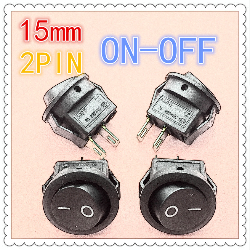 10pcs/lot 15mm SPST 2PIN On/Off G113 Round Boat Rocker Switch 3A/250V Car Dash Dashboard Truck RV ATV Home g126y 2pcs red led light 25 31mm spst 4pin on off boat rocker switch 16a 250v 20a 125v car dashboard home high quality cheaper