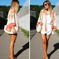 Vintage Women Boho Hippie Loose Style Kimono Coat Cape Blazer Jacket New Flower Print Chiffon Blouse