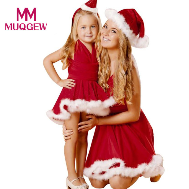 Fashion Christmas Family Matching Outfits Dresses Mom Kid Baby Girl Christmas  Clothes Bandge Sleeveless Pageant Party - Fashion Christmas Family Matching Outfits Dresses Mom Kid Baby Girl