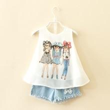 2017 marque d'été costume pour enfants filles de mode bébé fille en mousseline de soie gilet shorts set vêtements enfant vêtements enfants