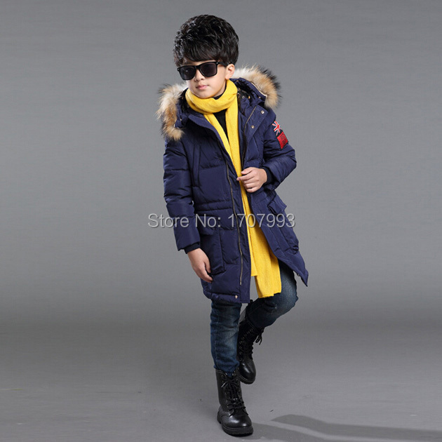 ecc0cb25b665b 5 13 Years Old Boys Parka Jacket Winter Coat Faux Fur Collar Children s  Parka Decorate Pockets Teenage Boy Winter Long Jacket-in Down   Parkas from  Mother ...