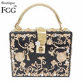 Light Blue Acrylic Metal Floral Appliques Crystal Women Shoulder Handbags Crossbody Bags Hard Case Trunk Ladies Box Clutch Bag
