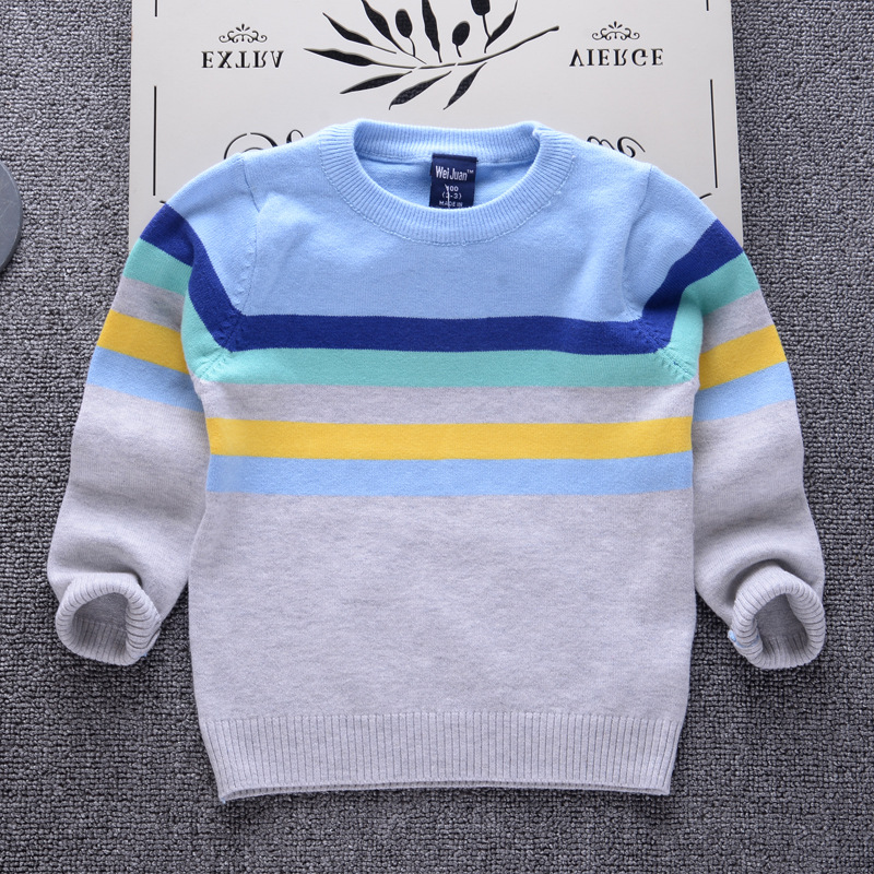 Striped sweater for boys 2018 Brand Design Fall Girl Pullover Baby Boy Casual Sweater Infant Knit Sweater Children Clothes u back striped knit dress
