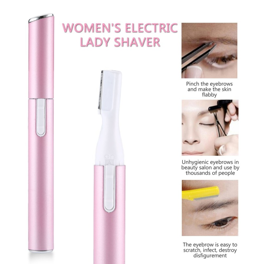 Women's Electric Lady Shaver Portable Pink Stainless Steel Grooming Shaver Razor For Legs Eyebrow Shaper Trimmer Hair Remover women lady body legs shaver automatic eyebrow trimmer mini hair remover stainless steel blade shaver body face trimmer