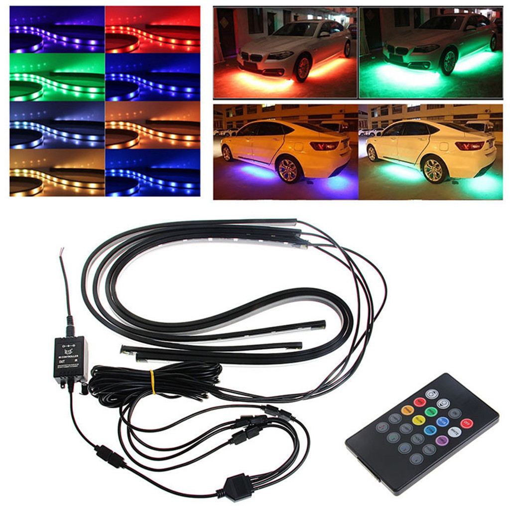 Base Rgb Led Strip Under Car Tube Underglow Underbody System Neon Light Kit 12v 4pcs 90x120 Cm Durable And High Quality L0409 Aesthetic Appearance
