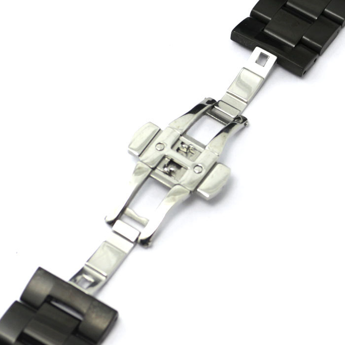 Watch Strap 22mm Bracelet Black Stainless Steel Mesh Polished Butterfly Clasp GD013922