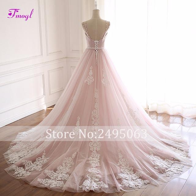 Fmogl Elegant Pleated Beaded A-Line Wedding Dresses Sexy Spaghetti Straps Appliques Princess Bridal Gown Vestido de Noiva