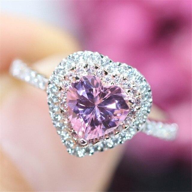 S925 Sterling Anelli D'argento Per Le Donne Amante Cuore Rosa Topaz Diamant Anello Nuziale Gioielli Da Sposa Temperamento Bijoux Femme