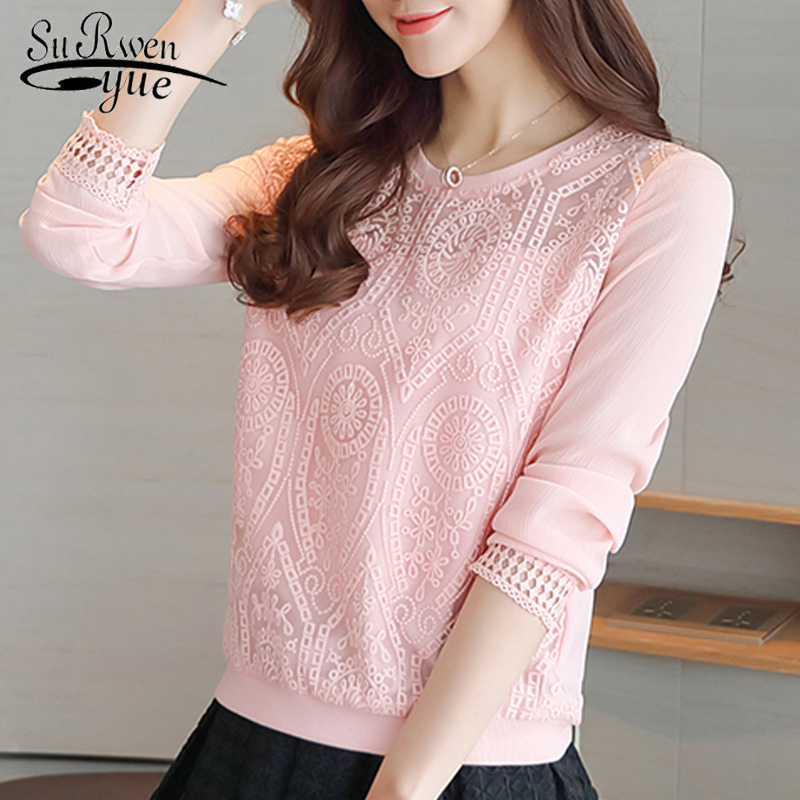 2018 fashion pink chiffon women blouse shirt Slim long sleeve lace patchwork women's clothing o-neck women tops blusas  619H 30