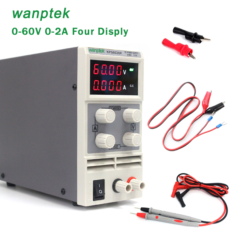 Wanptek sets Tester Probe+ alligator clip 0.01V/ 0.001A 0 - 60V/0 - 2A Double potentiometer Mini adjustment DC power supply цена