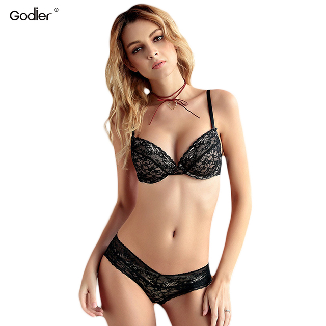 997bcacb08 Godier Sexy Lace embroidery Push Up Bra brief set bralette Cotton BH Deep V  Top underwear women Underwire lingerie set bra thong
