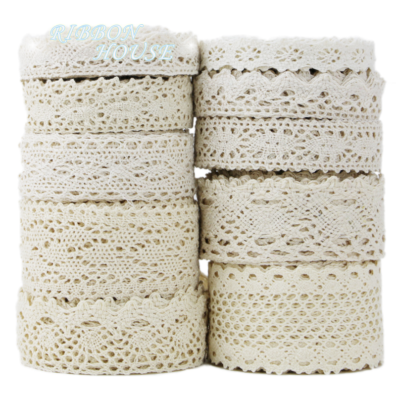 Cotton Lace Ribbon Craft Crocheted Handmade Beige Wedding-Party Gift DIY Packing-Patchwork