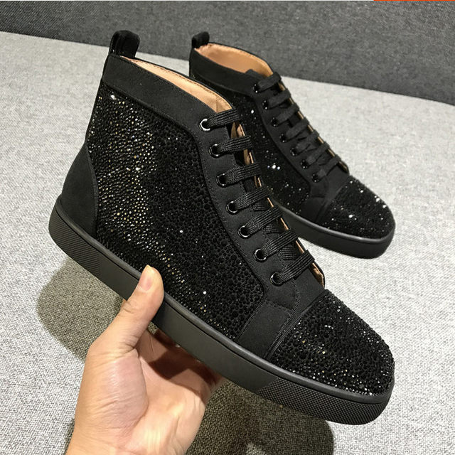 00eb382f59ba 2018 Chentel Edle Frühling Neue Kuh Leder Kristall Freizeit Wanderschuhe  Sneaker Outdoor Sports Black Farben Schuhe Für Männer Up
