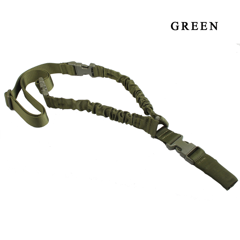 1000D-Heavy-Duty-Tactical-One-1-Single-Point-Sling-Adjustable-Bungee-Rifle-Gun-Sling-Strap-for-Airsoft-Hunting-Military RL30-0001 Green