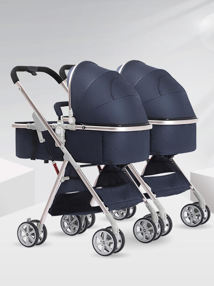 Twin baby strollers can be split and sit high landscape baby light folding dragon and phoenix second child double baby stroller