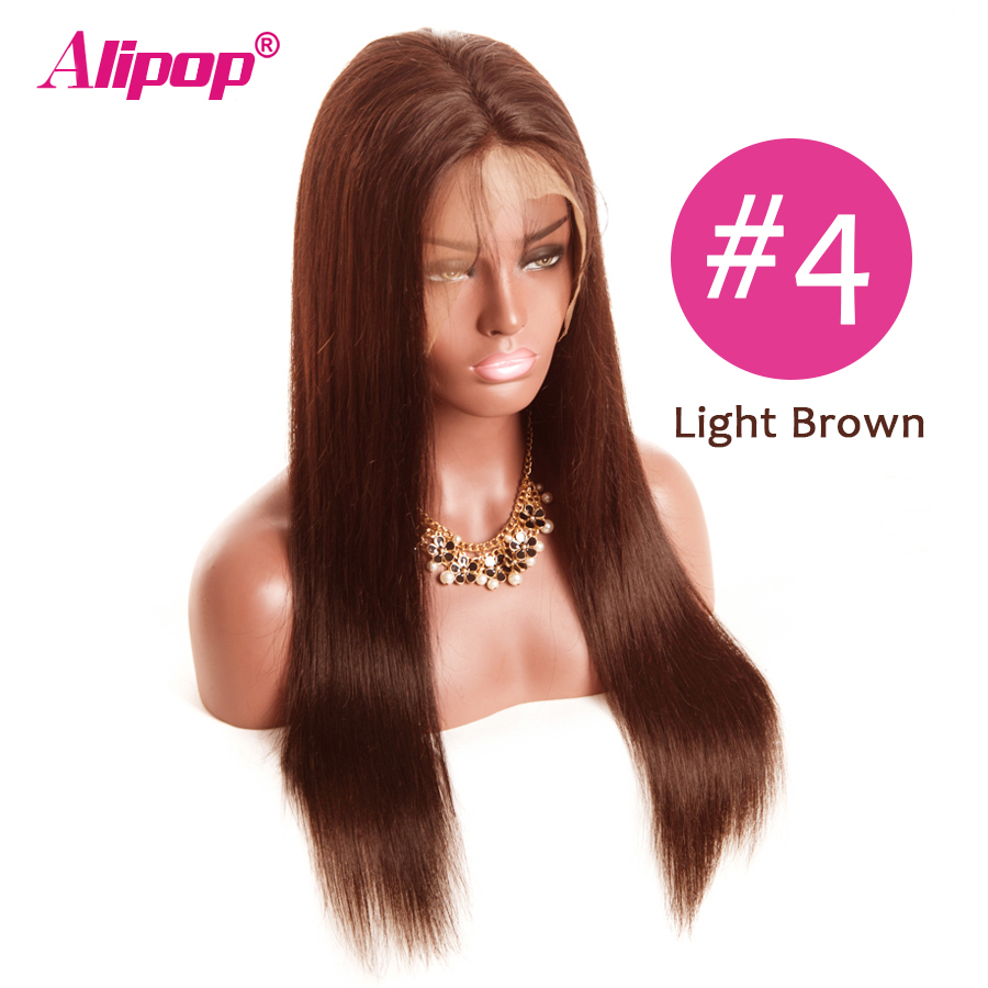 #2 #4 Color hair Brazilian Lace Front Human Hair Wigs ALIPOP Lace Front Wig Straight Human Hair Wigs Natural Hairline 10-26 (2)