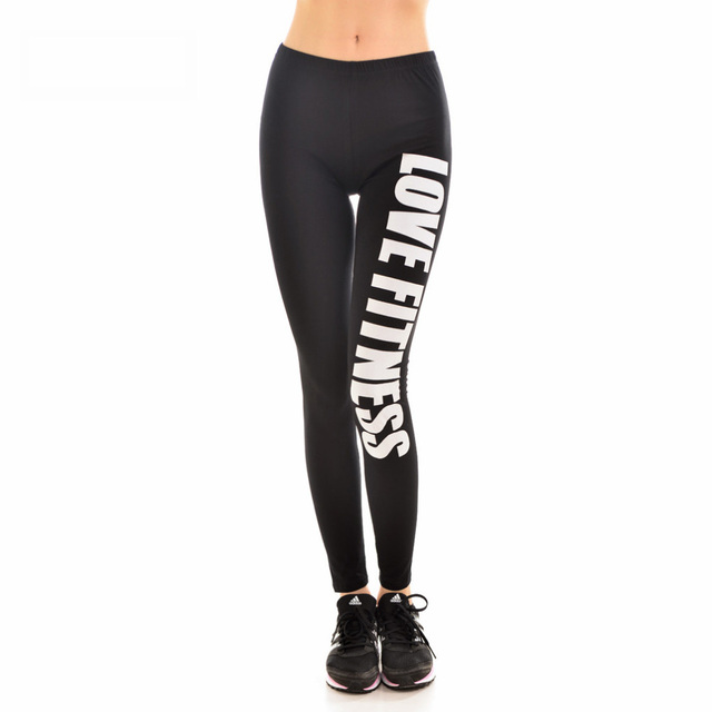 9149dc3cc5357 New 9096 Sexy Girl GYM Slim Leggings Black White Love Fitness Letter  Printed Running Fitness Sport Women Yoga Pants Plus Size