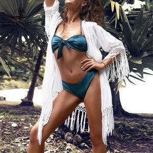Image 3 - Cupshe白かぎ針ビキニカバーアップセクシーなバックカットアウト着物女性2020ビーチ水着ビーチウェアチュニックシャツ