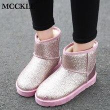 a0230d49a MCCKLE/женские зимние ботинки, шикарные женские короткие ботинки, теплая  обувь на плоской подошве