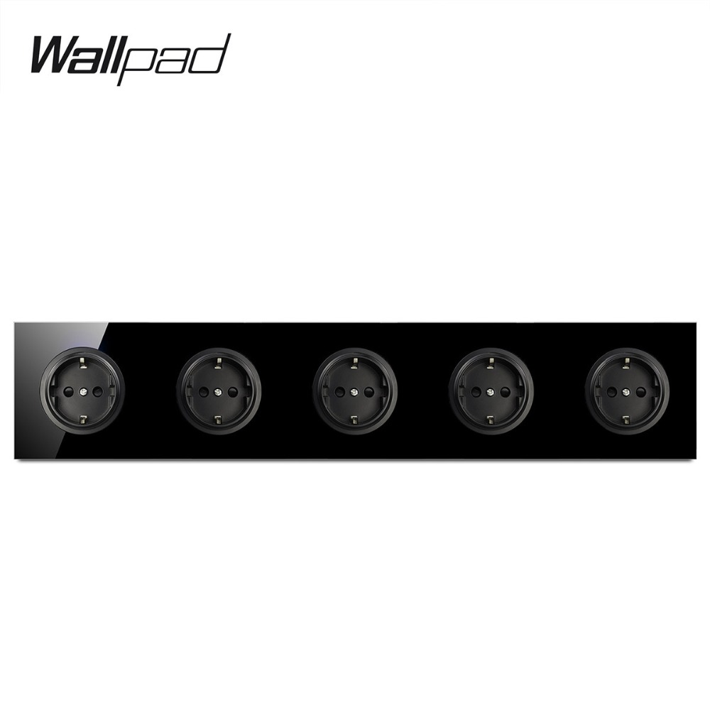 Wallpad L6 Black Tempered Glass Quintuple Frame EU Wall Socket Pentuple 5 Gang Electrical German Power Outlet 16A Round DesignWallpad L6 Black Tempered Glass Quintuple Frame EU Wall Socket Pentuple 5 Gang Electrical German Power Outlet 16A Round Design