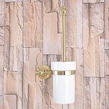Luxury Golden Polished Brass Wall Mounted Toilet Brush & Holder Set White Brush Ceramic Cup Bathroom Accessory aba137 стоимость