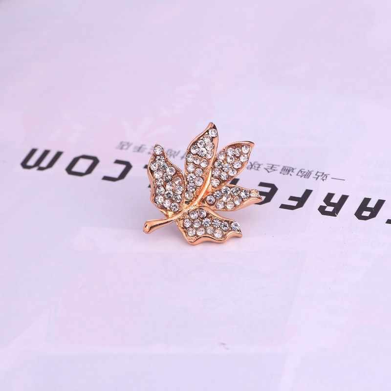 1 mảnh thời trang đầy đủ rhinestone maple leaf charm trâm cài pin đối với phụ nữ pha lê cổ áo tie cuff cap charm huy hiệu trâm đồ trang sức