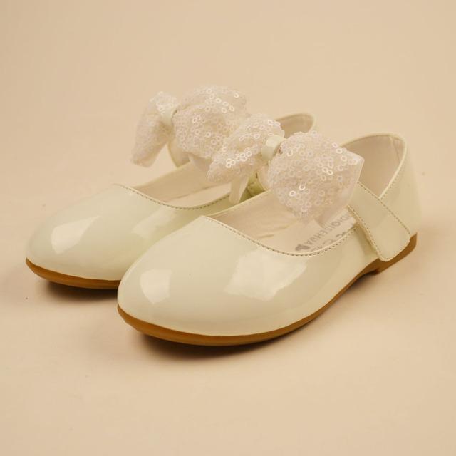 2017 Lentejuelas Pajarita Muchachas de Flor Vestido de Novia Zapatos Planos talón Niñas Partido Blanco Zapatos de Bebé Muchachas de La Princesa Ballet zapatos