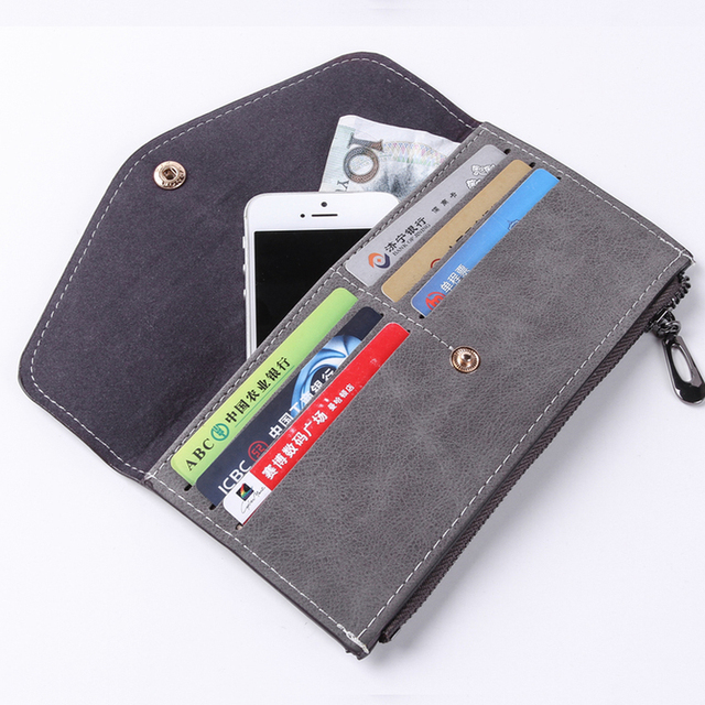 2018 Luxury Women Wallet PU Leather Long Solid Zipper Wallet Money Bag Coin Purse Female Credit Card Holder Long Lady Clutch 3
