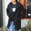 Otoño de Los Hombres de la Chaqueta Con Capucha 2016 Nuevo Más El Tamaño Para Hombre Abrigo Largo Venta Caliente a prueba de Viento Ocasional Outwear Rompevientos