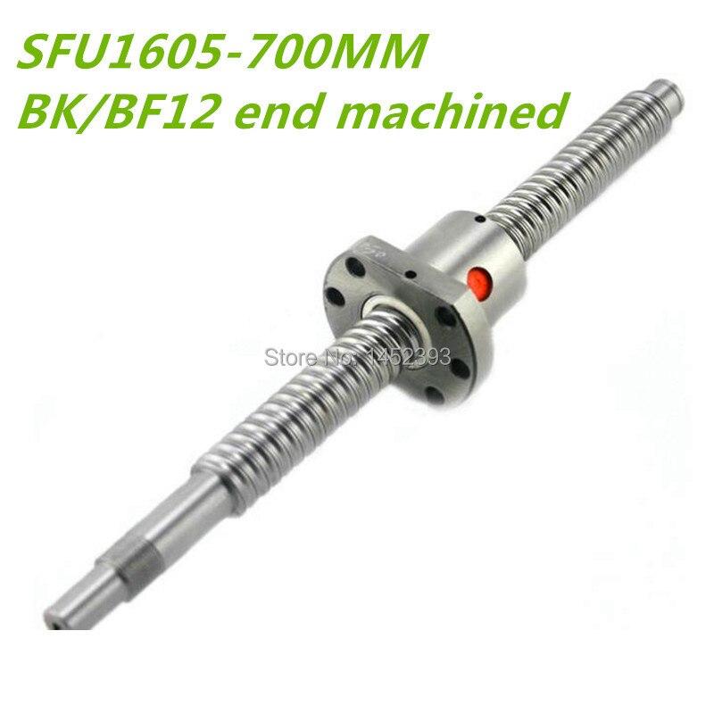 BallScrew 1605 SFU1605 L 700mm Rolled Ball screw with single Ballnut for CNC parts BK BF12