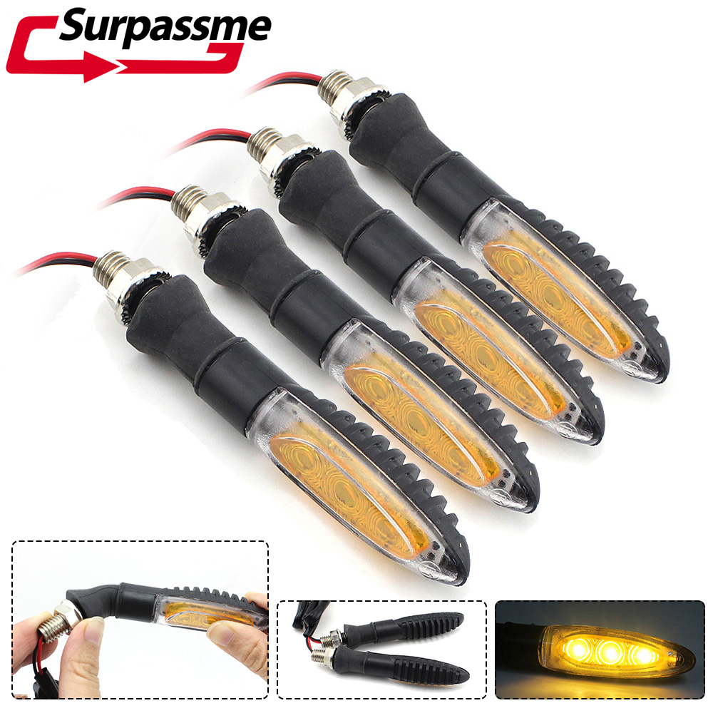 4Pcs Motorcycle LED Flasher Turn Signals Lights Indicators Flexible Blinkers Lamp Motorbike Accessories Daytime Running Light