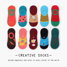Jhouson 1 pair Novelty Womens Colorful Summer Combed Cotton Fashion Non-slip Ankle Socks Watermelon Bee Pattern Boat Gift