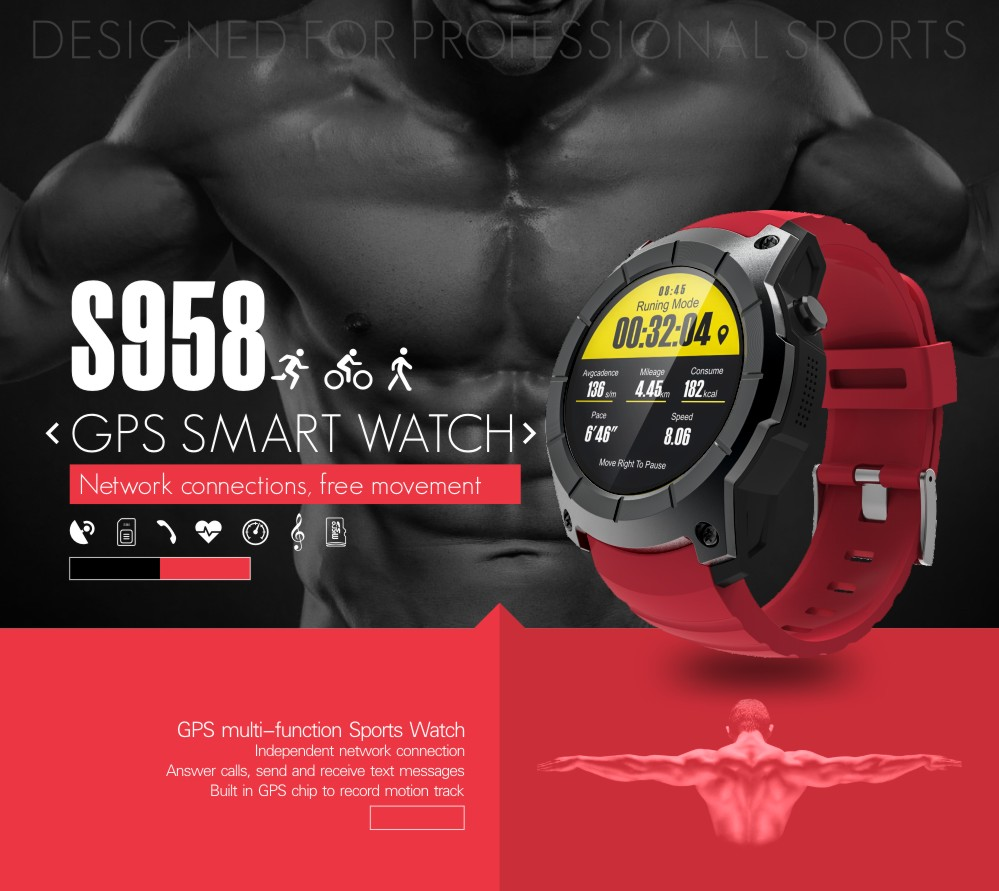 805115312 Product details of 2017 S958 watch men Smart Watch Heart rate monitoring  Support SIM card GPS WiFi Smartwatch For Android IOS