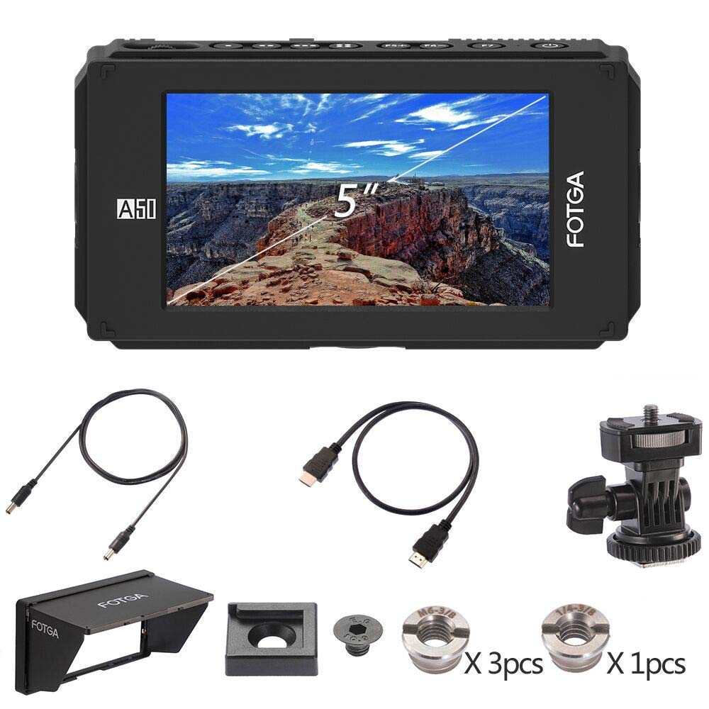 "FOTGA DP500IIIS A50T 5"" FHD Video On-Camera Field Monitor Touch Screen 1920x1080 HDMI 4K Input/Output for 5DIII IV A7 A7R GH4"