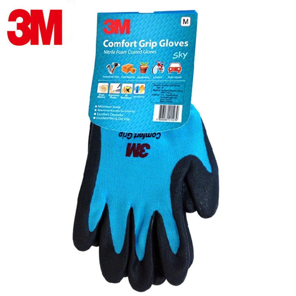 Genuine 3M Protective Gloves Comfortable Coated Gloves Breathable Wear-resistant Non-slip Leather Work Gloves Blue racmmer cycling gloves guantes ciclismo non slip breathable mens