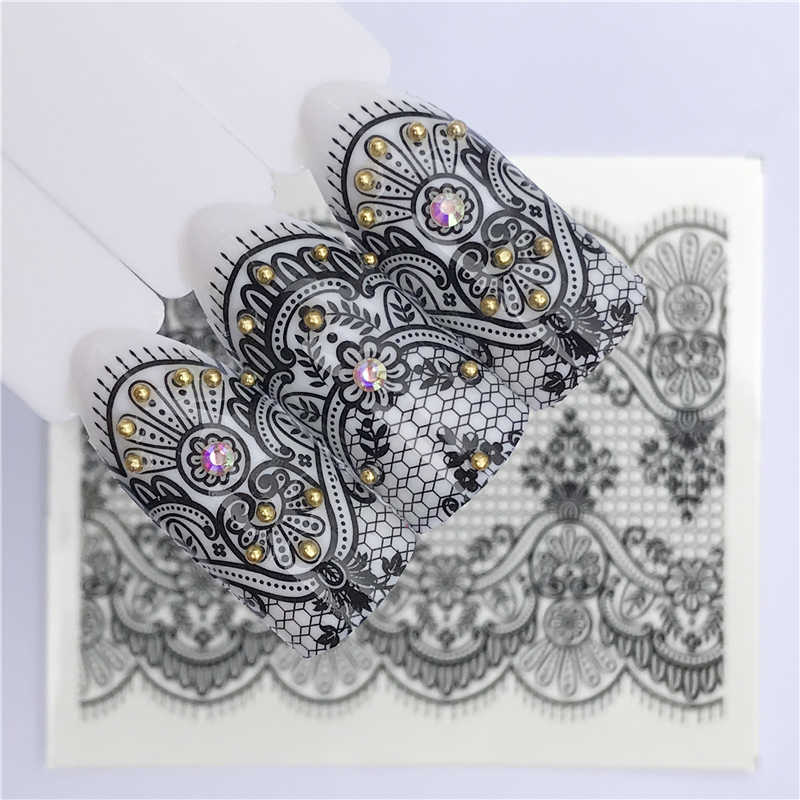 FWC 25 Designs Black Lace Nail Art Flower Water Transfer Stickers Sexy Nail Tips Decals Beauty Manicure Decor Tools