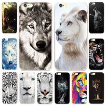 Cool Animal White Lion Wolf Pattern Case for iPhone 4 4S SE 5 5S 5C 6 6S Plus Capinha