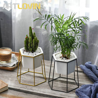 New Garden Supplies Hexagon Ceramic Flower Pot Creative Gold Metal Frame Support Flower Green Plant Home Decorative Nursery Pots