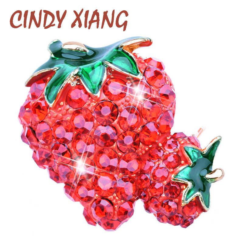 Cindy Xiang Stroberi Rhinestone Bros untuk Wanita Fashion Perhiasan Buah Aksesoris T-shirt Bros Pin Kualitas Tinggi Baru 2018