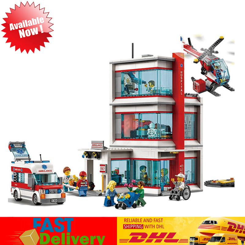 Lepin 02113 943Pcs City Hospital Set Helicopter Ambulance Toys Model Building Blocks Bricks Kits Compatible LegoINGlys 60204
