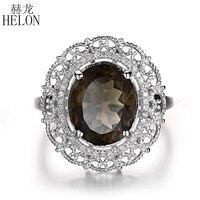 HELON 11x9 мм овальное подлинное дымчатое кварцевое кольцо из стерлингового серебра 925 натуральные бриллианты кольцо свадебное кольцо для женщ