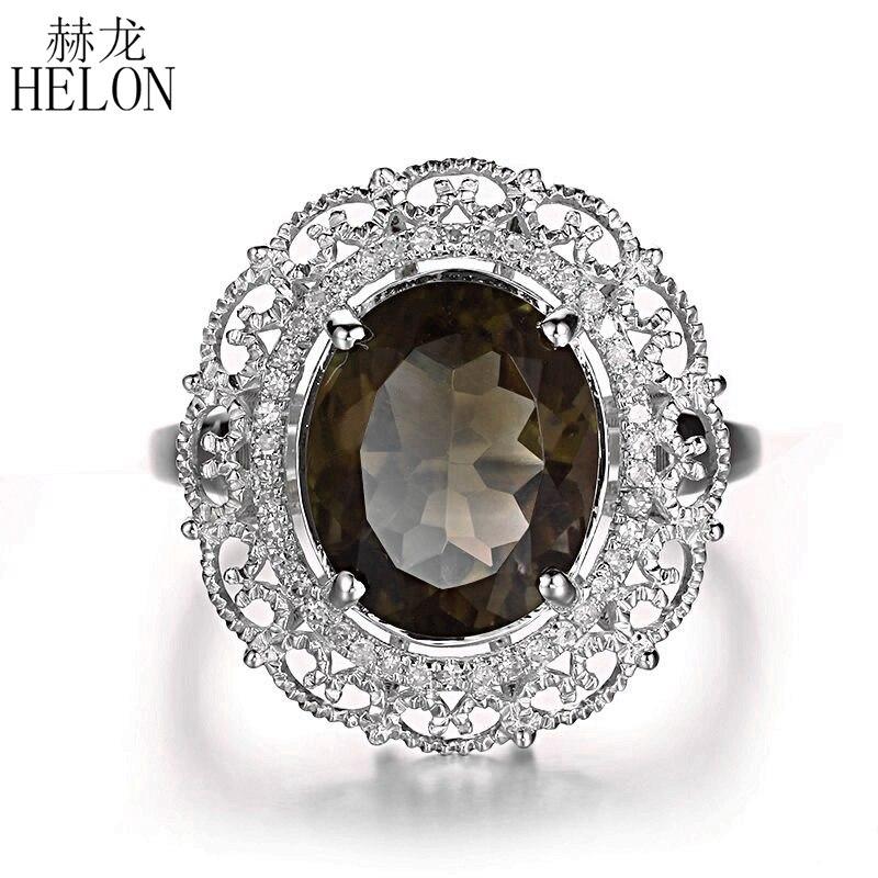 HELON 11x9mm ovale véritable Quartz fumé bague en argent Sterling 925 diamants naturels bague femmes fiançailles mariage filigrane bijoux