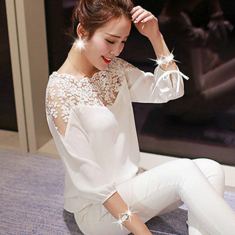 Autumn Womens Lace Blouse Long Sleeve Loose Chiffon Blouse  Ladies Casual Shirt Tops Fashion Blouse