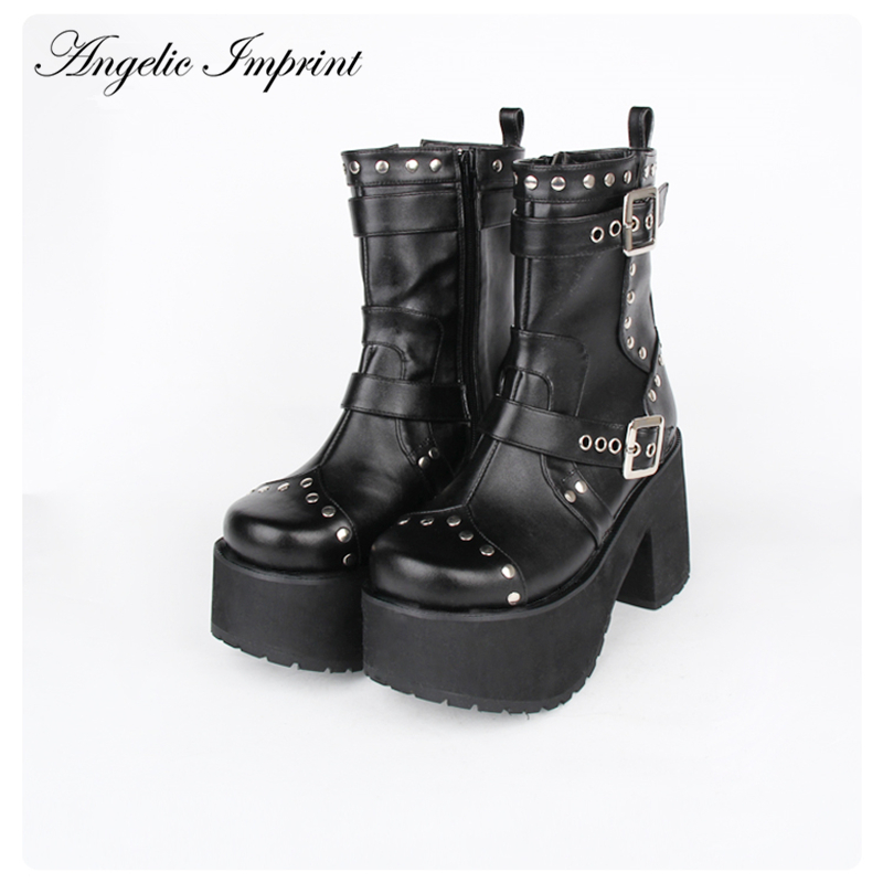 d00f748c492 Buy punk ankle boots buckle studded and get free shipping on AliExpress.com
