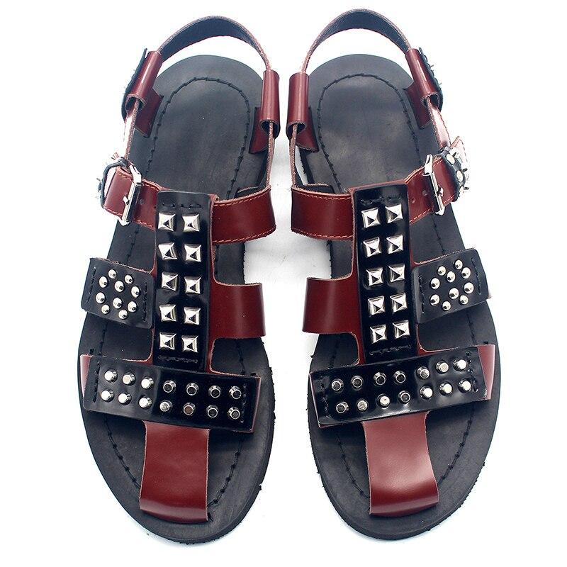 Bezaaid Romeinse schoenen Europese en Amerikaanse straat bruin lederen hand bezaaid mannen sandalen - 2