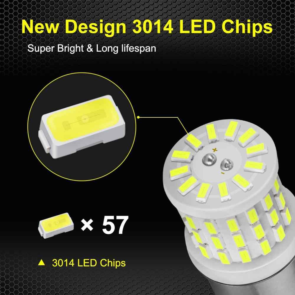 2 Chiếc Gốm LED 1157 BAY15D P21/Bóng Đèn LED 5W 1156 BA15S P21W R5W R10W Xe Đèn DRL ban Ngày Ngược Đèn 6000K 12V