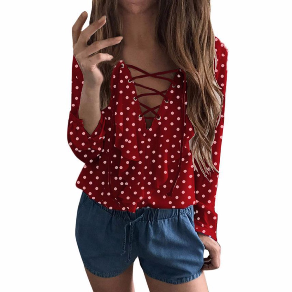 Sexy Ruffles   Blouse   Femme Women Polka Dot Chiffon Blusas Summer Tops Lace Up V Neck Strapped Long Sleeved White   Blouses     Shirts