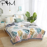 Papa&Mima Colored leaves Print Quilting Summer Quilt Twin Queen Size Throws Blanket Cotton Bedding Plaid Bedspread