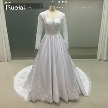 Real Photo Custom Made V-Neck Lace Wedding Dresses Long Sleeves Satin Ball Gown Princess Bridal Vestido de Novia 2017 FW126